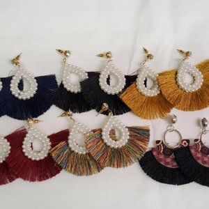 6 Pair Tassel Dangle Earrings